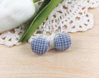 Gray And White Plaid Fabric Earrings, Plaid Fabric Earrings, Lever Back Earrings, Dangle Earrings, Button Earrings, Simple Earrings