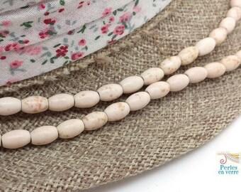 48 beads oval rice ivory white howlite (ph211) 5x8mm