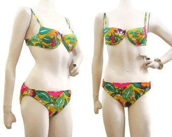 Vintage 60s Bikini Swimsuit Psychedelic Flower Mod Cole California Xs S