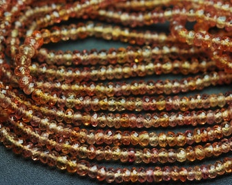 8 Inch Strand, Finest Quality,NATURAL Orenge Sapphire Micro Faceted Rondelles Beads 2.75-3mm aprx