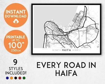 Haifa map print, Printable Haifa map art, Haifa print, Israel map, Haifa art, Haifa poster, Haifa wall art, Haifa gift, Map of Haifa city