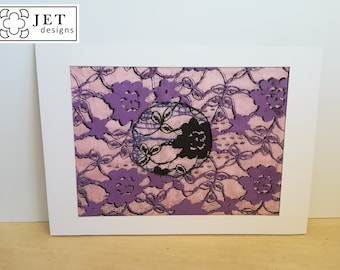 Window mounted lace inspired embroidered prints