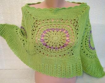 crochet poncho women,poncho  knit,Mandala Poncho,Green poncho,Mexican poncho,poncho femme,Fashionable poncho,Knitted ponchos,Knitted cape