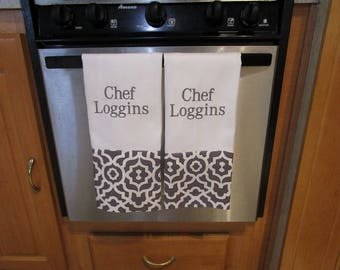 Personalized Kitchen Towel, Monogrammed Dish Towel,Hand Towel,Personalized Towel, Personalized Tea Towel,Chef Towel,Gray and White Towel