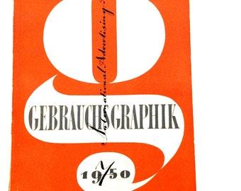 GEBRAUCHSGRAPHIK Magazine Rare Collectible 1950 International Advertising Art Issue 7