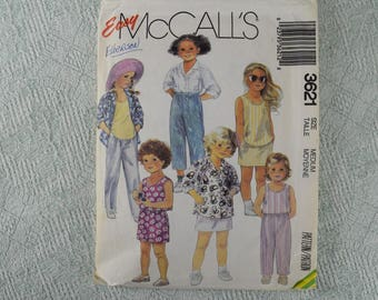 McCall's Sewing Pattern 3621 children's shirt top pants shorts skirt from 1988