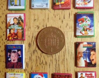 Dolls house handmade miniature replica set of 12 kids Christmas dvd classics 1/12 scale