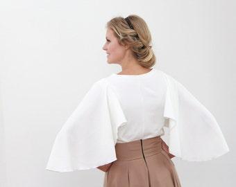women white shirt, butterfly sleeve shirt, woman white top, butterfly sleeve top, women white shirt
