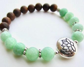 Jade Bracelet, Sandalwood Bracelet, Jade Stretch Bracelet, Sandalwood Stretch Bracelet, Lotus Stretch Bracelet, Boho Stretch Bracelet