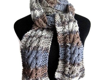 Hand Knit Scarf, Grey,Steel Blue and Taupe Cable and Lace Scarf, Vegan Knits, Gifts For Her, Womens Scarf, Mens Scarf