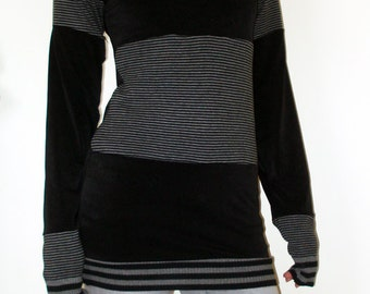 Black and Grey Handmade Cowl Neck long top /dress Recon - One of A Kind - Kezbirdie