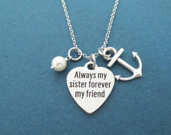 Always my sister forever my friend, Marine, Anchor, White, Pearl, Silver, Necklace, Birthday, Best friends, Friendship, Gift, Jewelry
