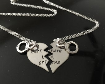 Partners in Crime Necklaces - Gift For Best Friend - Best Friend Jewelry - Best Friend Gift-Hand Stamped BFF Split Heart Necklaces