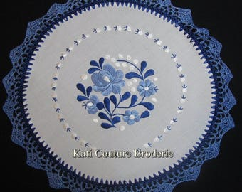 Hungarian doily blue white hand embroidered embroidery