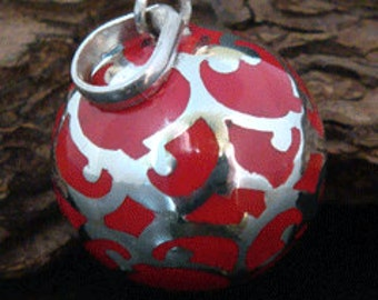 Harmony Ball pendant: Large 20mm Red Harmony Ball wrapped with intricate fine 925 Sterling Silver Filigree - Bola Necklace, Angel Caller 217