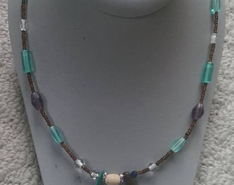Green and Purple Glass Beaded Necklace