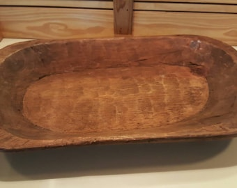 Large Vintage wooden dough bowl from Mexico, rustic decor, wedding, centerpiece