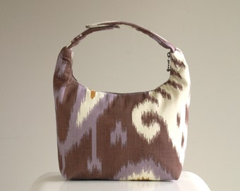 Insulated Lunch Bag, Women Lunch Bag, Small Purse, Lunch Bag For Work, Reusable Lunch Tote-Ikat Brown Purple