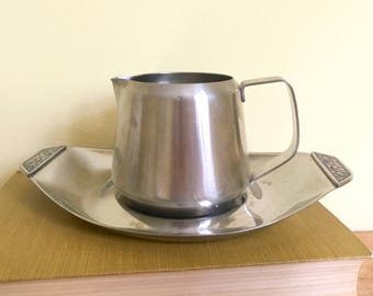 Vintage Stainless Oneida Creamer and Tray, Mid Century, Milk Jug, Small Pitcher