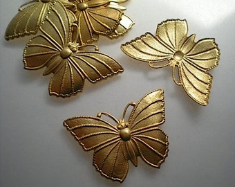 6 large brass butterfly charms No. 1