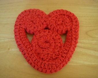 Crocheted Heart Shaped, Trivet, Red, 100% Cotton Yarn.