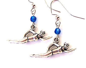 Swimmer earrings, love to swim earrings, antiqued silver, Swarovski crystal in your color choice