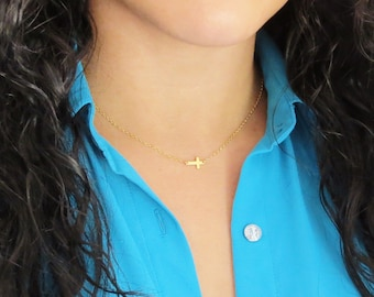 Extra Tiny Gold Sideways Cross Necklace, Tiny Gold Necklace, Tiny Sideways Cross Necklace, Bridesmaids Gifts, Gold Cross Necklace