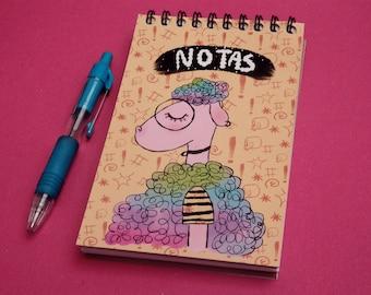 Sheep NOTEBOOK,Travelers,diay, Journal, Memory Journal, Artist Gift,Art Notebook,cute,magic,unicors,kawai