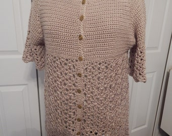 hand crocheted cardigan tunic