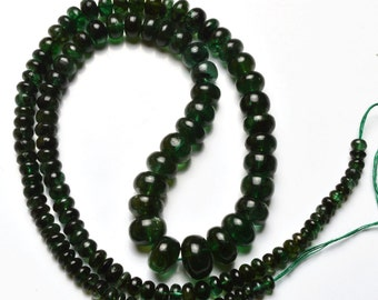 Natural Full Stand 120 Carats 17 Inches Stands AAAA Gems Quality 100%  Natural Emerald  Transparent Smooth Roundels Beads   3 TO 9 MM size