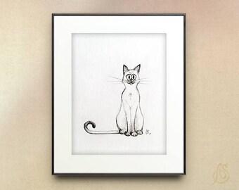 Siamese Cat Art // Siamese Cat Illustration // Cat Pencil Drawing // Cat wall art print //