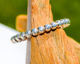 BEADED band stacking ring Sterling Silver stacker bead southwest