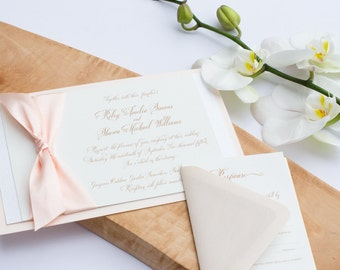 "Charming Invitation Suite – A blush wedding invitation suite from the Simply Sleek Designs ""Simply Chic Collection"""