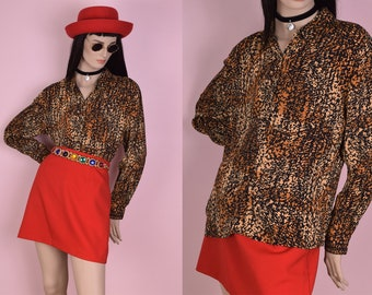 80s Printed Long Sleeve Blouse/ US 10/ 1980s/ Button Down