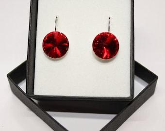 Sterling Silver Rivoli style drop earrings made with Swarovski® Crystal- Light Siam