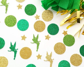 Green Fairy Confetti- Table Confetti- Birthday Confetti- Party Decorations- Tinkerbell Party Decor- Tinkerbell Confetti- Glitter Confetti