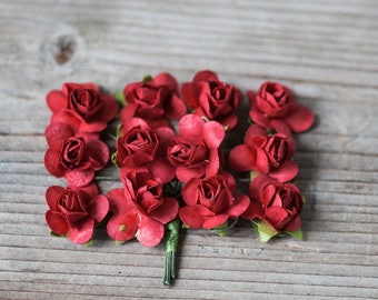Red Mianiture Roses, Mulberry Paper Roses, Small Paper Flowers, Boutonniere Flowers, Decorative Flowers Craft Supplies Small Red Roses