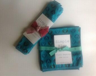 Cloth Napkins - Teal Print - 100% Cotton