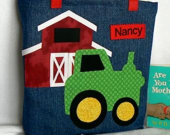 Personalized Tote Bag|Green Tractor Tote Bag|Kid Personalized Tote Bag|Boys Tote Bag|Gift for Grand Kids|Library Book Bag|Toddler Tote Bag