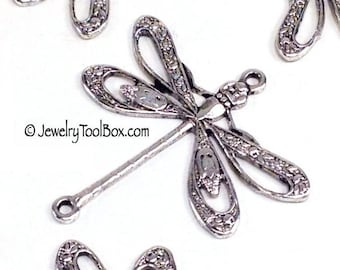 Filigree Dragonfly Pendant Charms Connector, 24x24mm, 2 Loops, Antique Silver, Large, Made in USA, Lead Nickel Free, Lot Sizes 4 o 24, #09S