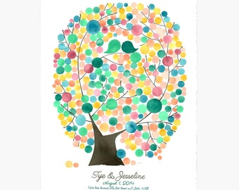 Wedding Guest Book art print guestbook alternative - Oval Tree of Life - Modern guest book Love Birds Watercolor