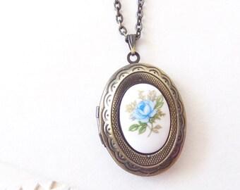 Vintage Rose Locket Necklace - Oval Locket - Keepsake - Vintage Limoges -Blue Rose - Antique Brass Locket