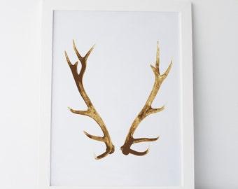 "Printable Art ""Antlers"" Print Wall Art Wall Prints Antlers Prints Antlers Art Antlers Decor Gallery Wall Art Gallery Wall Prints Home Decor"
