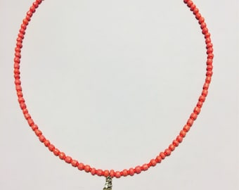 Coral Mermaid Lions Paw Shell Necklace