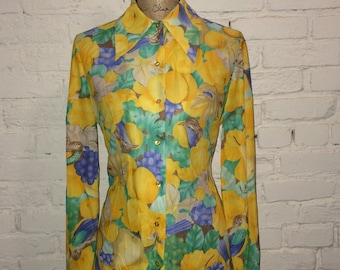 Tall Daisies Vintage Blouse / Fruit /Birds / Leaves / Screen print / 70s