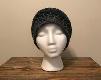 Crochet messy bun hat - shadowberry