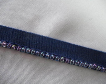 Blue and Blue Iridescent Beads  Pillow Trim Piping Cord Gimp
