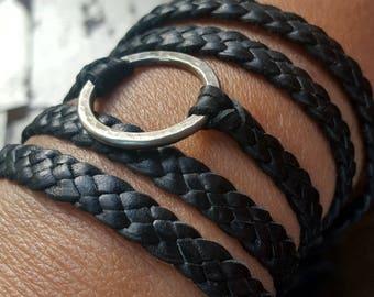 Zyanya Leather Bracelet, Braided Leather Bracelet, Eternity Ring Leather Collar Necklace, Boho Multi Wrap Bracelet Eternity Jewelry Discreet