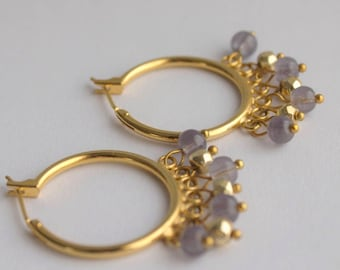Gold hoop earrings with Bohemian glass and pyrite beads