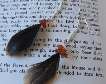 Peasant Feather Dangle Earrings with Amber